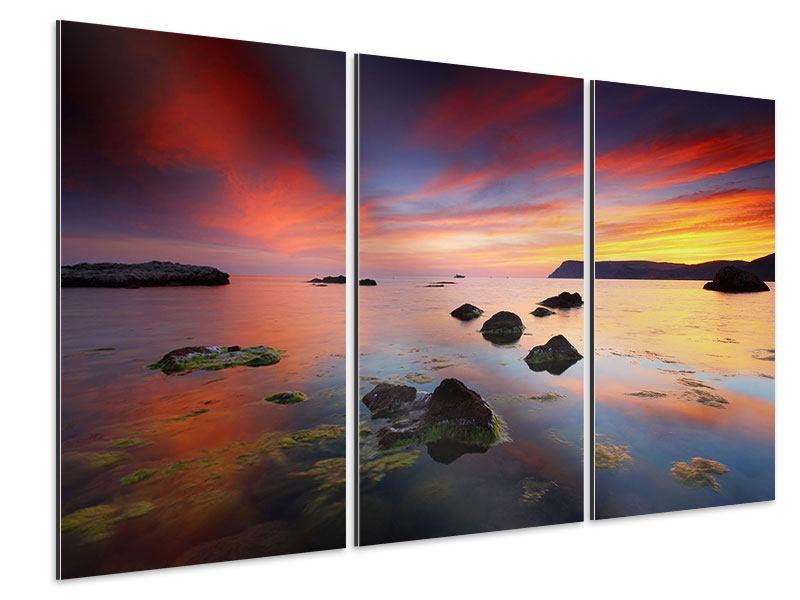 Aluminiumbild 3-teilig Ein Sonnenuntergang am Meer