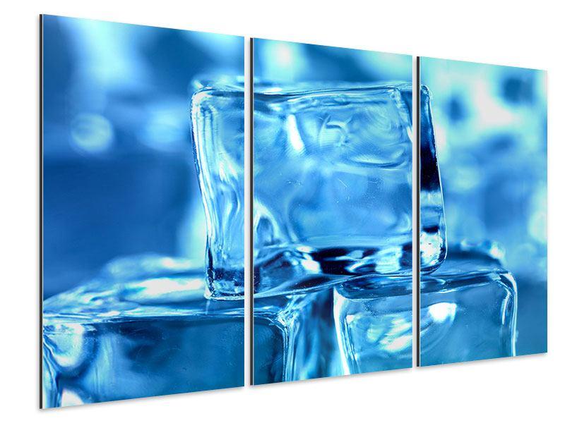 Aluminiumbild 3-teilig Eiswürfel XXL
