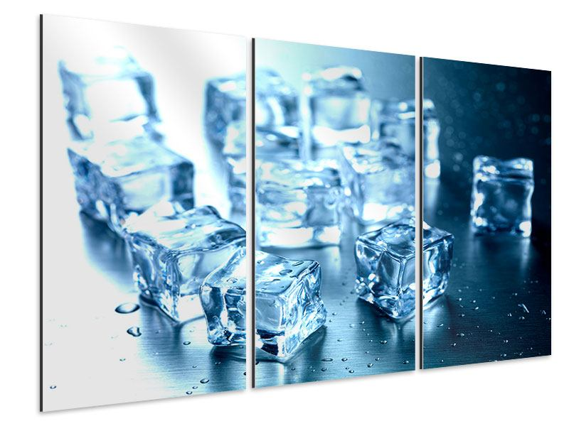 Aluminiumbild 3-teilig Viele Eiswürfel