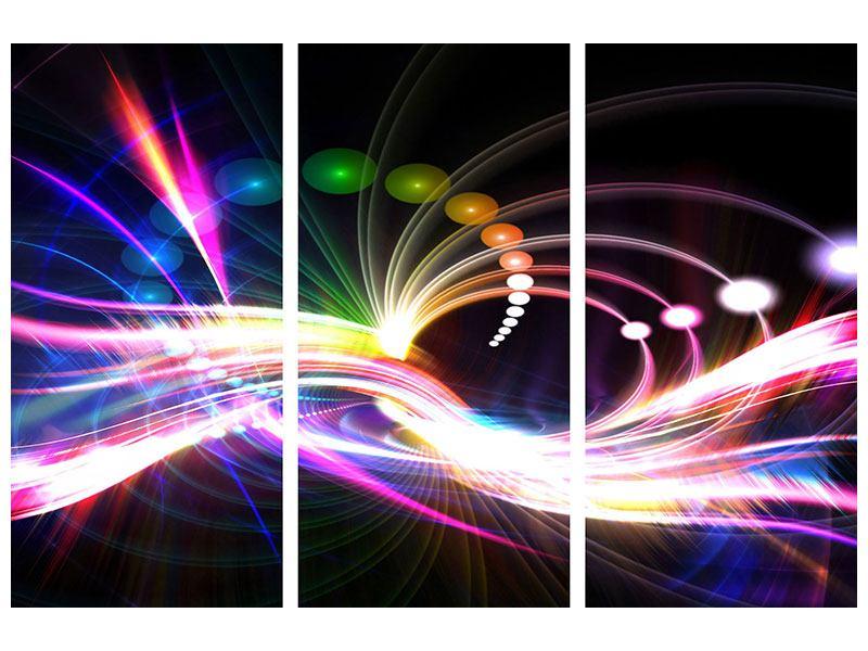 Aluminiumbild 3-teilig Abstrakte Lichtreflexe