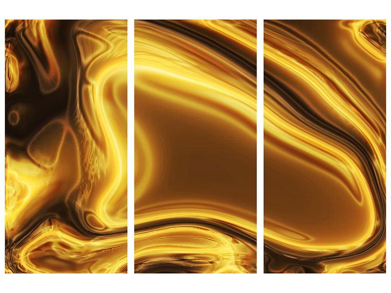 Aluminiumbild 3-teilig Abstrakt Flüssiges Gold
