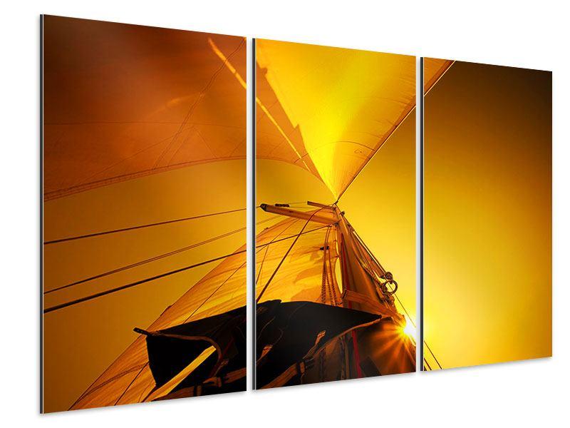 Aluminiumbild 3-teilig Segelboot im Sonnenuntergang