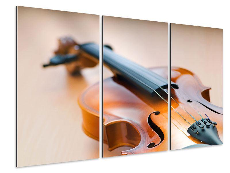 Aluminiumbild 3-teilig Geige