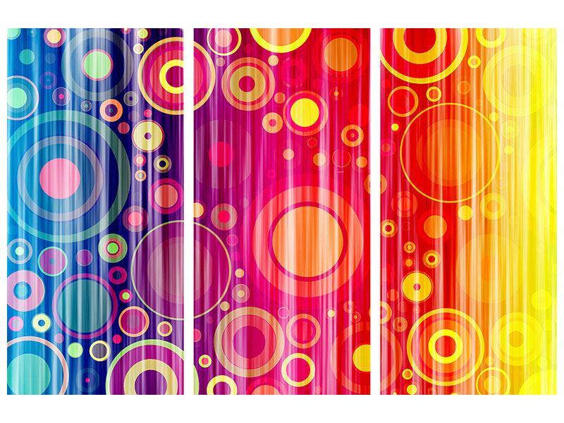 Aluminiumbild 3-teilig Grunge-Retrokreise