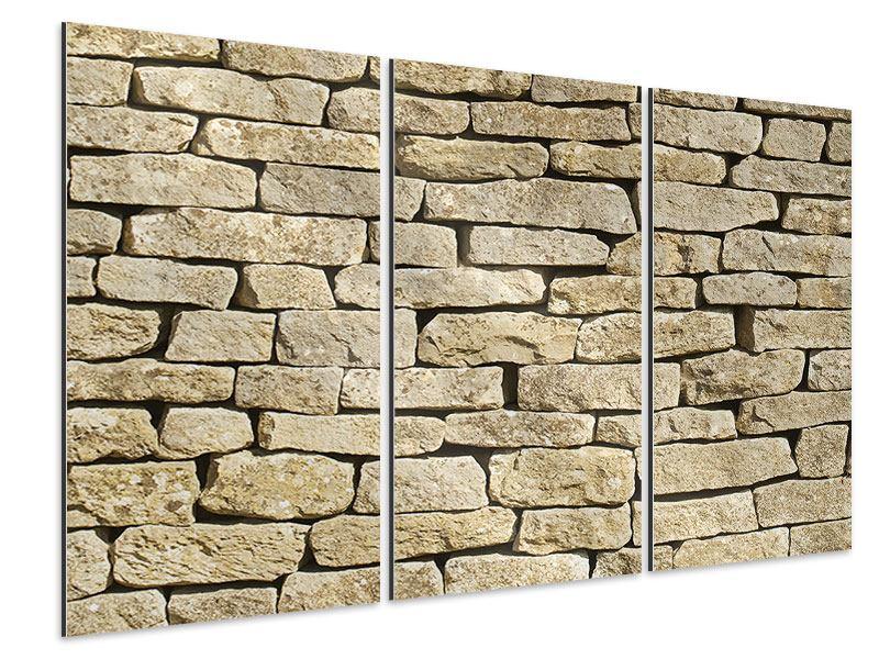 Aluminiumbild 3-teilig Alte Mauer