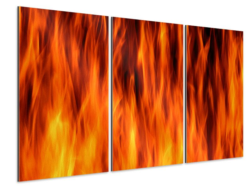 Aluminiumbild 3-teilig Feuer Close Up