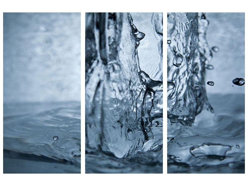 Aluminiumbild 3-teilig Wasserdynamik