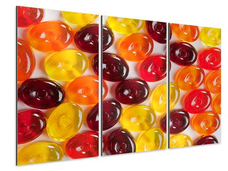 Aluminiumbild 3-teilig Bonbons