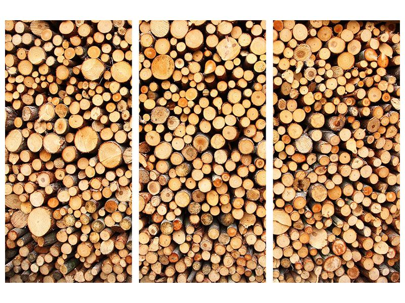 Aluminiumbild 3-teilig Holzstämme