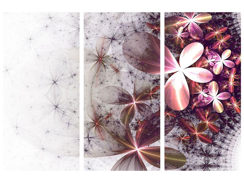 Aluminiumbild 3-teilig Abstrakte Blumen