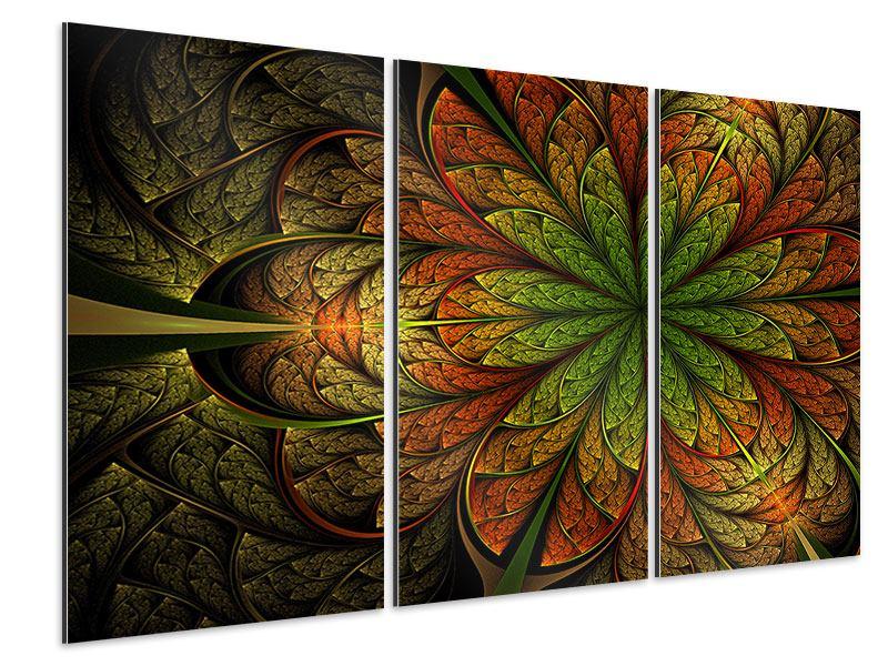 Aluminiumbild 3-teilig Abstraktes Blumenmuster