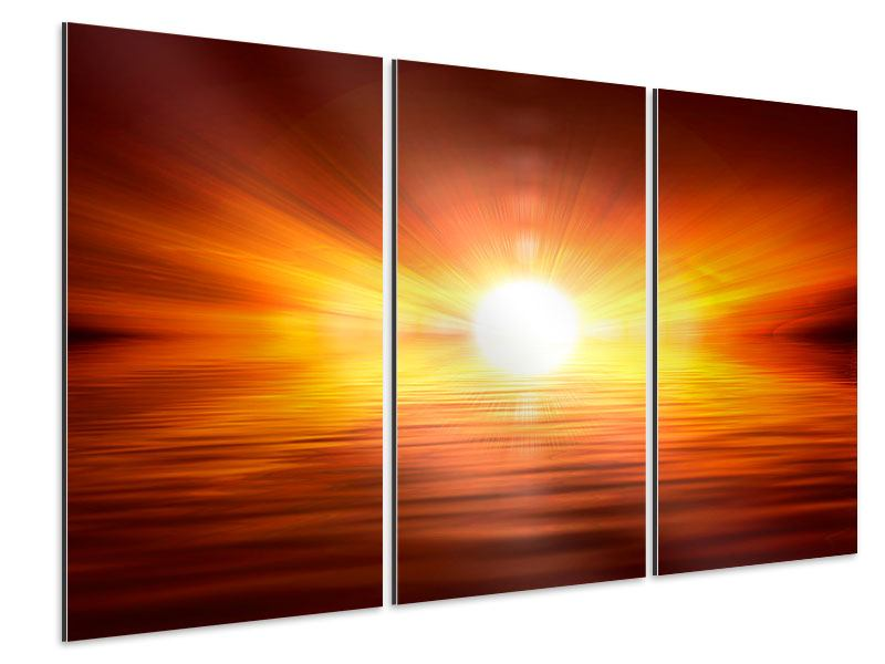 Aluminiumbild 3-teilig Glühender Sonnenuntergang