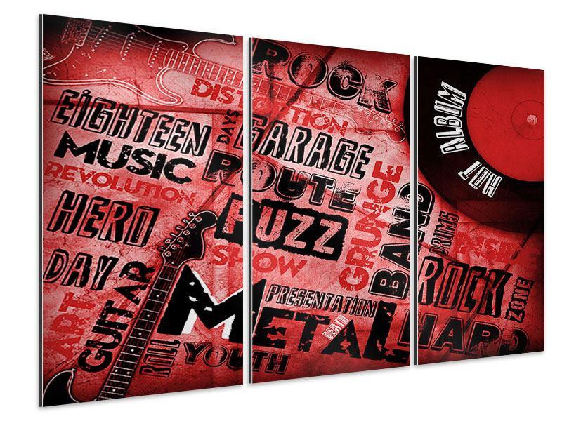 Aluminiumbild 3-teilig Writings Music Grunge