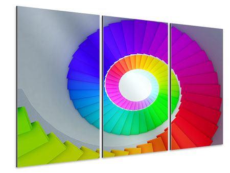 Aluminiumbild 3-teilig Bunte Wendeltreppe 3D