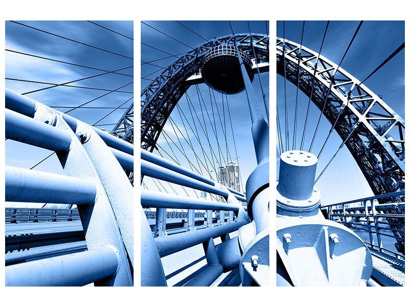 Aluminiumbild 3-teilig Avantgardistische Hängebrücke