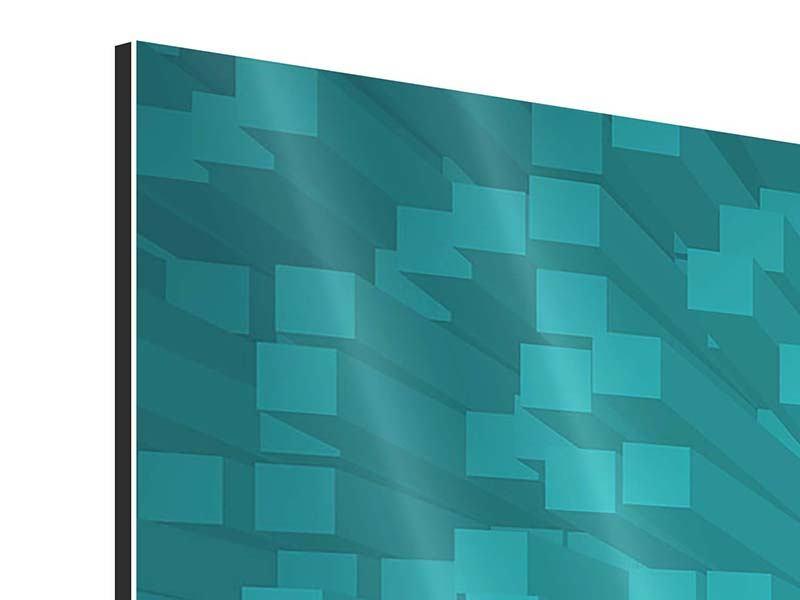 Aluminiumbild 3-teilig 3D-Kubusse
