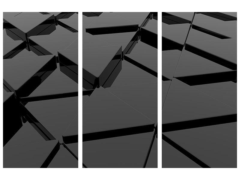 Aluminiumbild 3-teilig 3D-Dreiecksflächen
