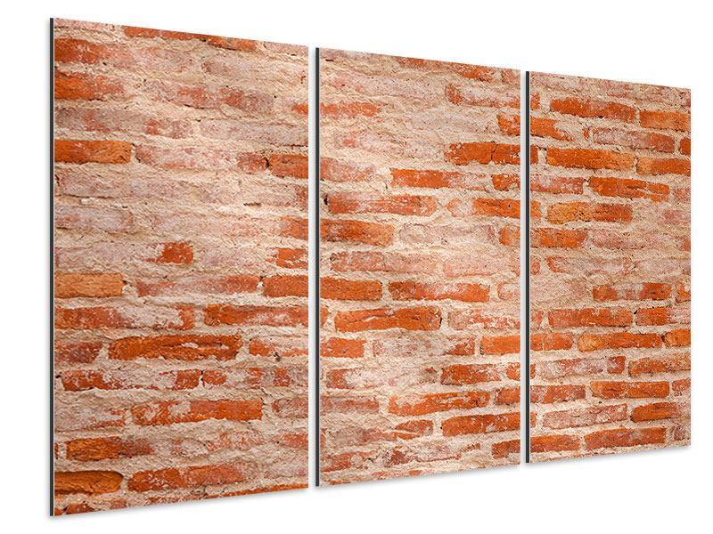 Aluminiumbild 3-teilig Mauerwerk