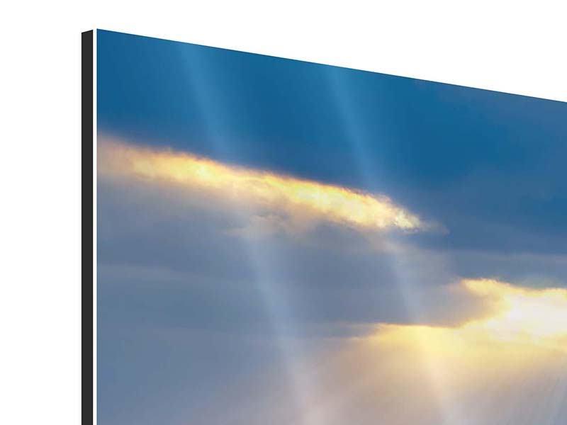 Aluminiumbild 3-teilig Der Lavendel und das Meer