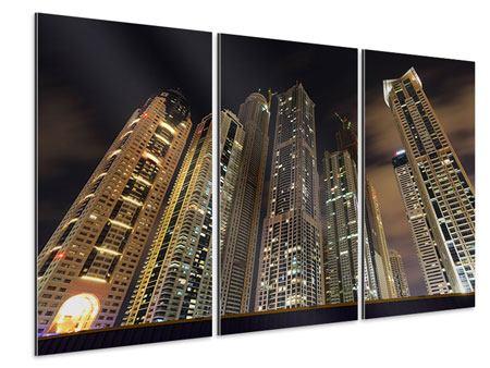Aluminiumbild 3-teilig Wolkenkratzer Dubai Marina