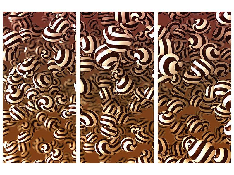 Aluminiumbild 3-teilig Schokoladen-Bonbons