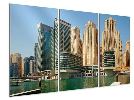 Aluminiumbild 3-teilig Spektakuläre Wolkenkratzer Dubai