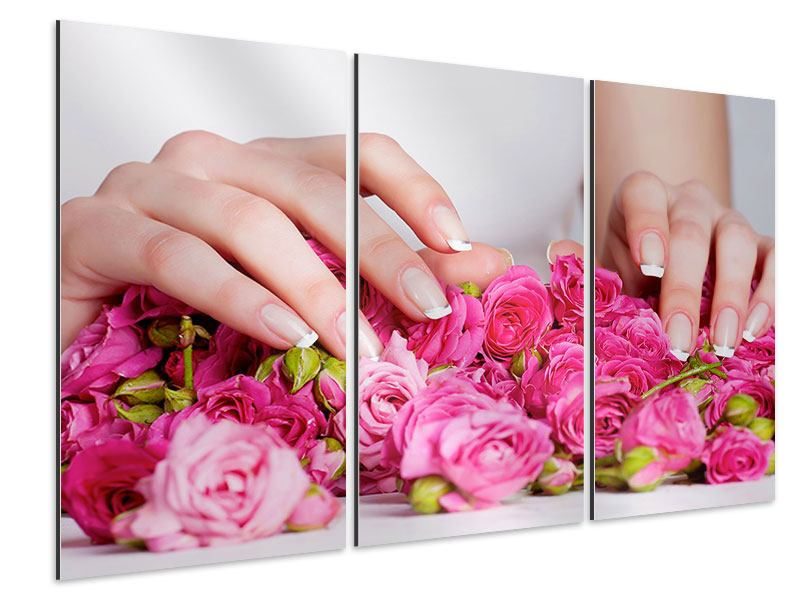 Aluminiumbild 3-teilig Hände auf Rosen gebettet
