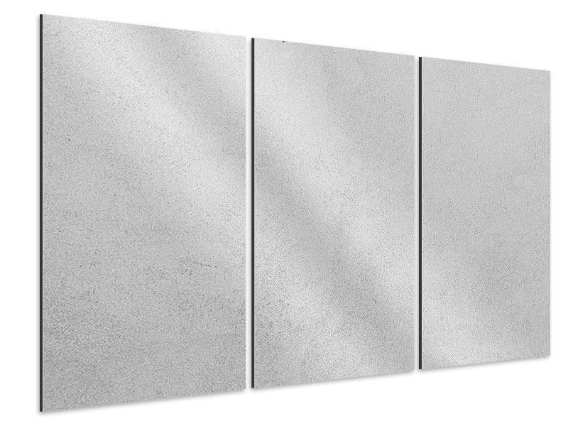 Aluminiumbild 3-teilig Beton in Hellgrau