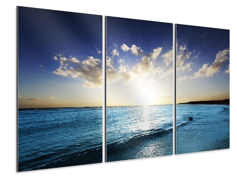 Aluminiumbild 3-teilig Das Meer im Sonnenaufgang