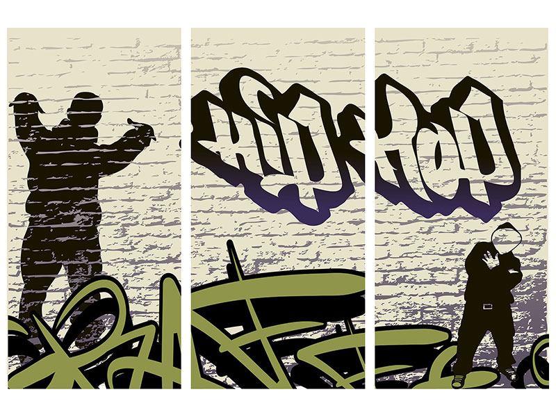 Aluminiumbild 3-teilig Graffiti Hip Hop