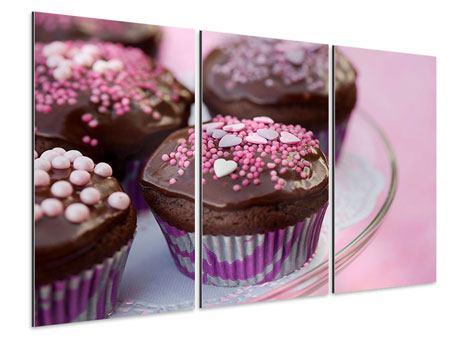 Aluminiumbild 3-teilig Muffins
