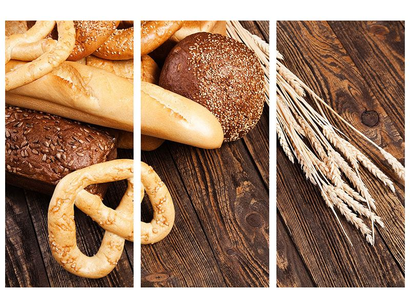 Aluminiumbild 3-teilig Brot und Bretzel