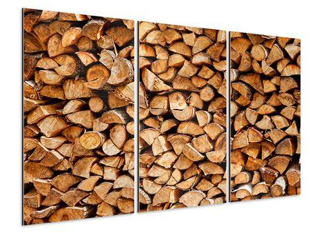 Aluminiumbild 3-teilig Gestapeltes Holz