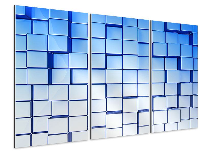 Aluminiumbild 3-teilig 3D-Symetrie