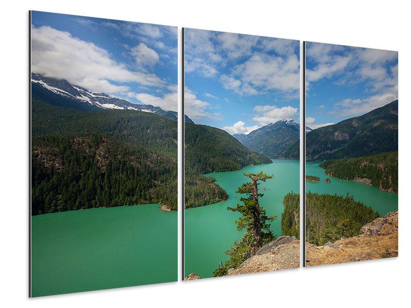 Aluminiumbild 3-teilig Diablo Bergsee