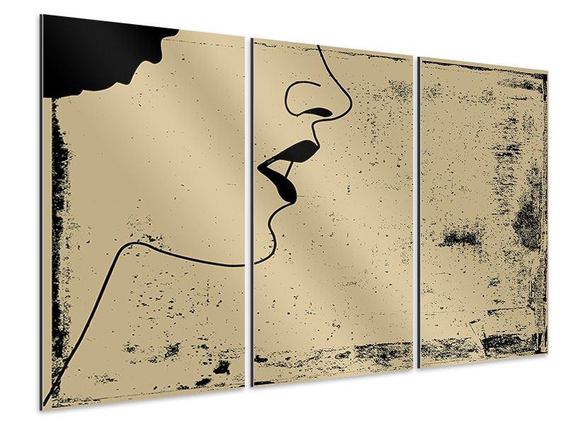 Aluminiumbild 3-teilig Frauenportrait im Grungestil