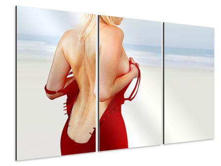 Aluminiumbild 3-teilig Rücken einer Schönheit