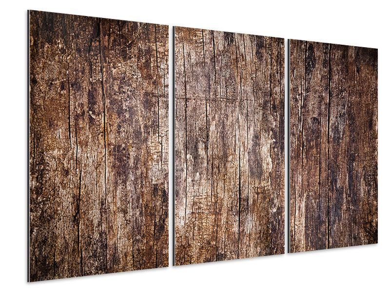 Aluminiumbild 3-teilig Retro-Holz