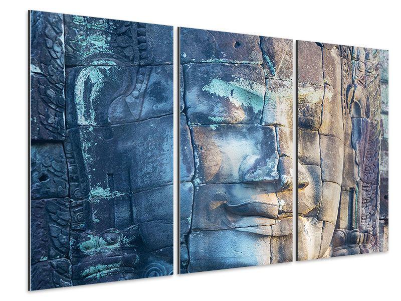 Aluminiumbild 3-teilig Buddha Statur