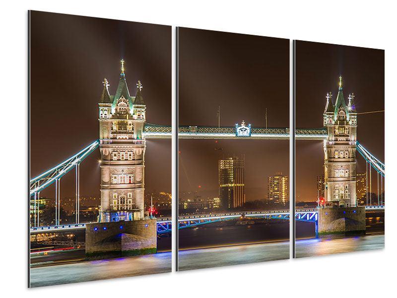Aluminiumbild 3-teilig Tower Bridge bei Nacht
