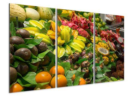 Aluminiumbild 3-teilig Früchte