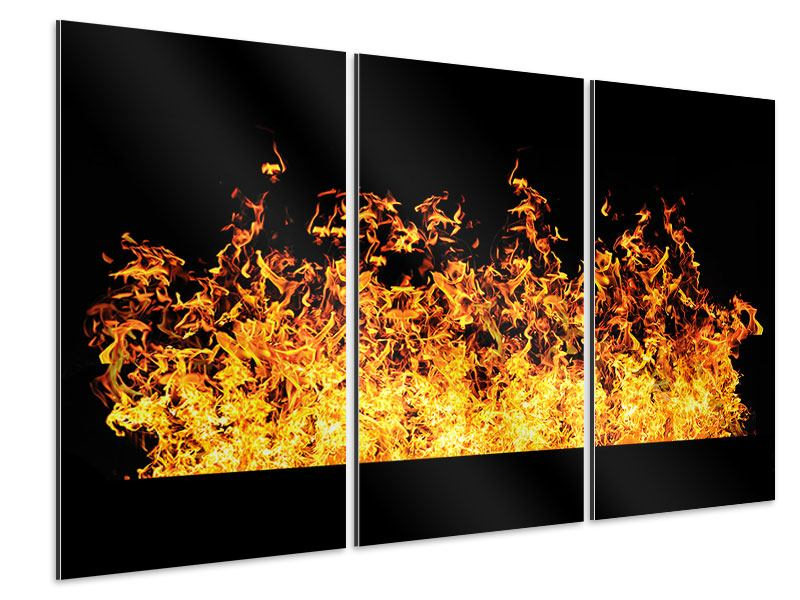 Aluminiumbild 3-teilig Moderne Feuerwand