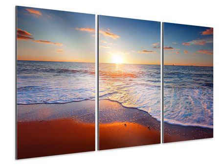 Aluminiumbild 3-teilig Sonnenuntergang am Horizont
