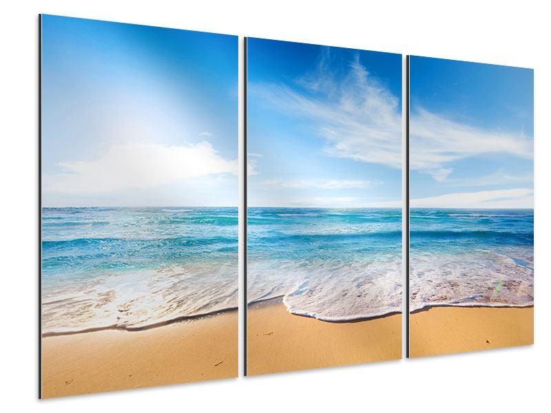 Aluminiumbild 3-teilig Spuren im Sand