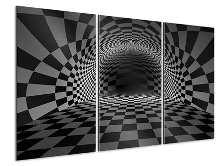 Aluminiumbild 3-teilig Abstraktes Schachbrett