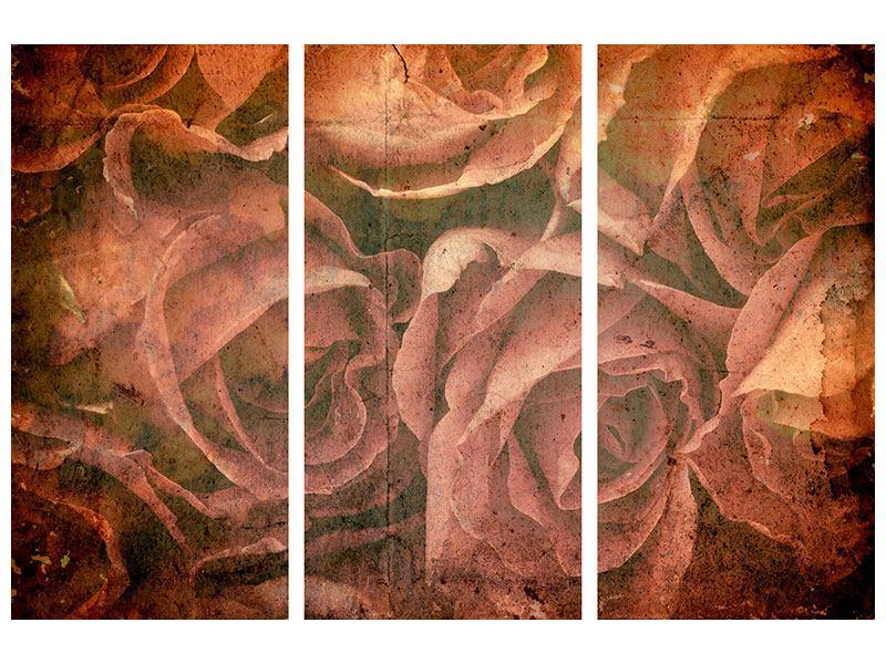 Aluminiumbild 3-teilig Rosenbukett
