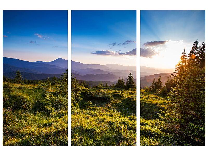 Aluminiumbild 3-teilig Friedliche Landschaft