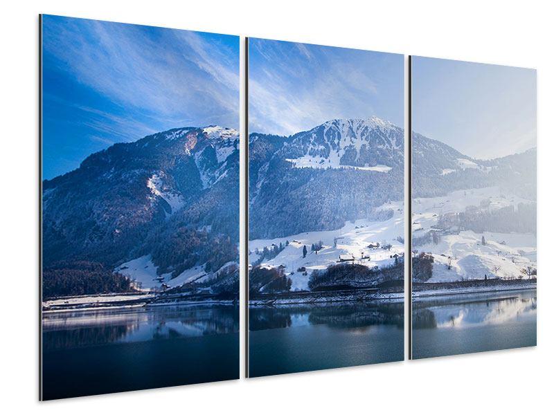 Aluminiumbild 3-teilig Winterwunderland
