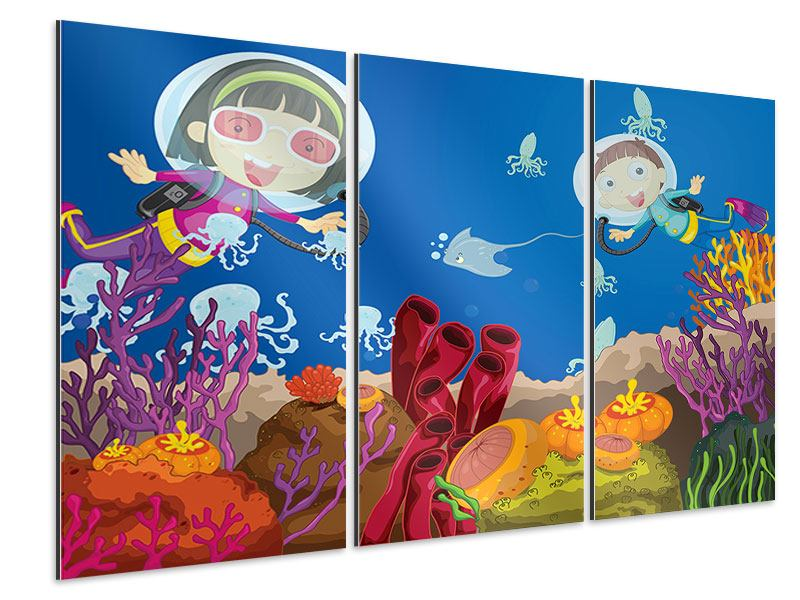 Aluminiumbild 3-teilig Fröhliche Fische