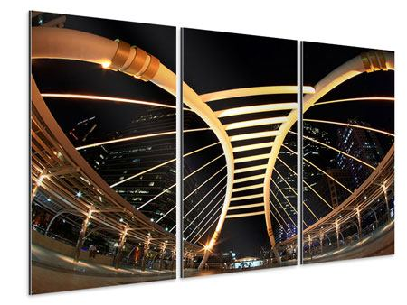 Aluminiumbild 3-teilig Avantgardistische Brücke